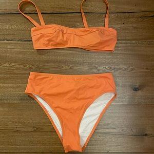 Solid and striped orange bikini